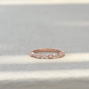 Jewelry - Cubic zirconia ring (2mm) Rose-Gold Plated Base